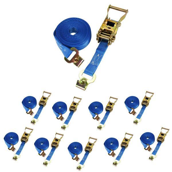 Spanngurt / Zurrgurt, LC 500/1000 daN, 6 m, 25 mm, 2-teilig, Flachhaken m. Sicherungsstift, 10er Set