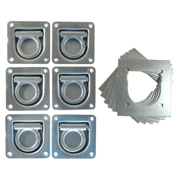 Zurrpunkt / Zurrösen Set, 6 Stück inkl. Gegenplatte, Zugkraft 800 daN
