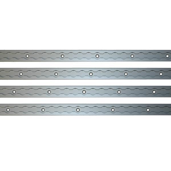 Airlineschiene, Vierkantprofil, eloxiert, Länge 1 m, vorgebohrt, 4er Set