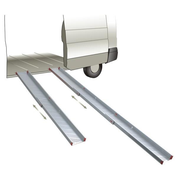 EXPRESSO Teleskopierbarer Verladesteg 110 - 200 x 21,8 cm, Tragkraft 300 kg