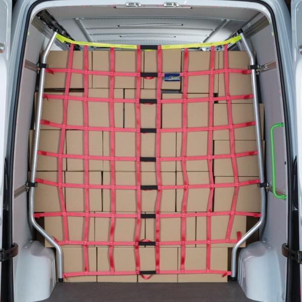 Ladungssicherungsnetz f. Transporter m. Aluminium-Gestänge f. Sprinter / Crafter