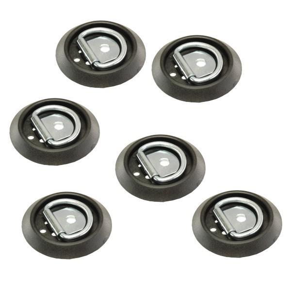 Zurrpunkt / Zurröse, einfache Ausführung, Stahl/Kunststoff, 250 daN, 6er Set