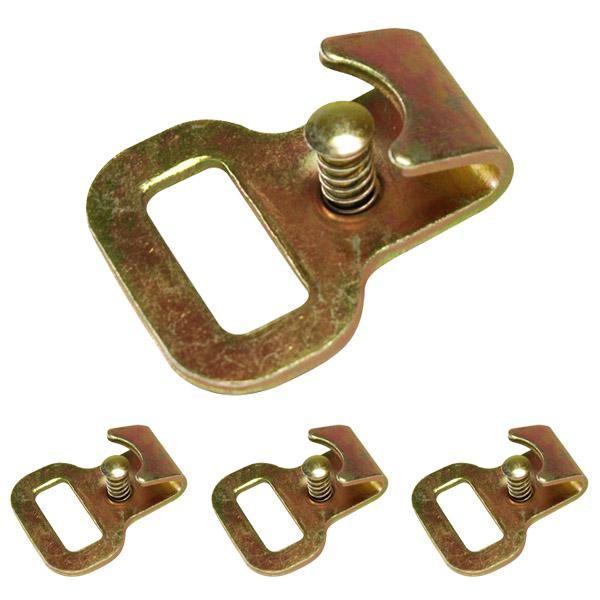 Flachhaken mit Sicherungsstift für Stäbchenzurrschienen, LC 750 daN, 4er Set