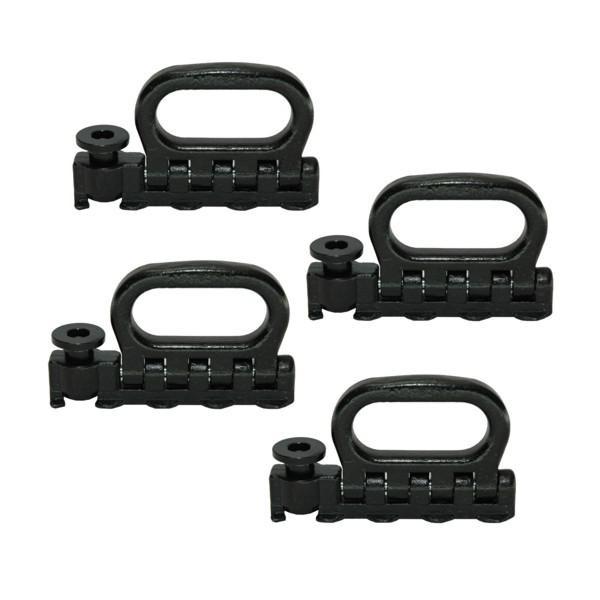 Quattro-Stud-Fitting, klappbar, LC 2500 daN, schwarz, 4 Stück