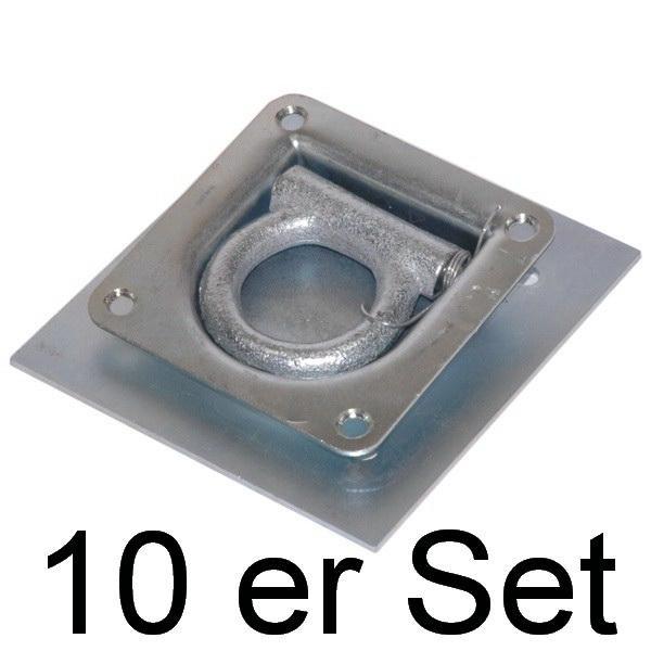 Zurrpunkt / Zurrösen Set, 10 Stück inkl. Gegenplatte, Zugkraft 800 daN