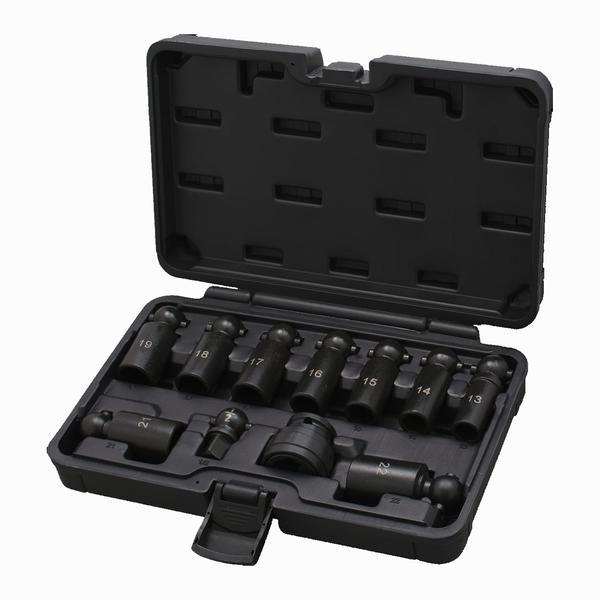 Kraft-Kugelgelenk-Steckschlüsselsatz mit Schnellwechsel-Adapter 1/2 Zoll 11-teilig