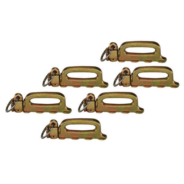 Quattro-Stud-Fitting, Vierfachendbeschlag mit Ring, Bruchlast 5000 daN, 6er Set