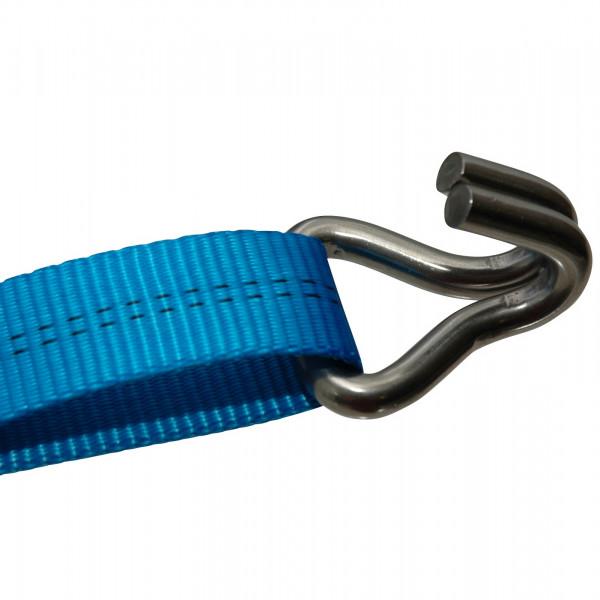 Edelstahl Doppelspitzhaken, LC 550 daN, Gurtbreite 25 mm
