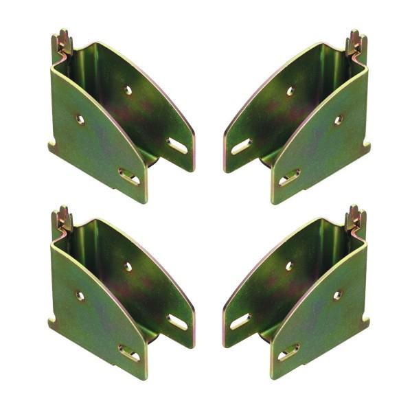 Balkenschuh / Rahmenschuh - 4er Set, für Kombi-Ankerschiene, Stahl verzinkt, gelb passiviert