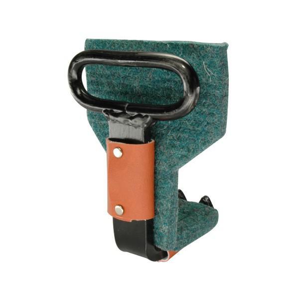 Möbeltragehaken mit Filzschoner und Lederbesatz, Ösenbreite 85 mm, schwarz