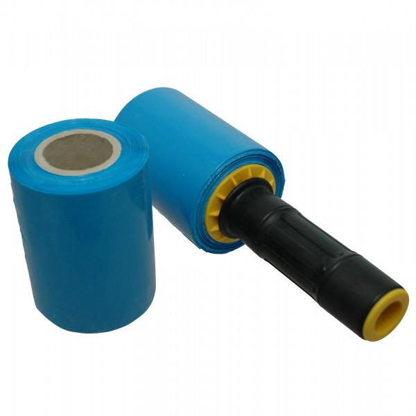 Mini-Stretchfolie, blau, 150 lfm, 23 µ, Kern 100 x 38 mm, 6er Set mit Abroller