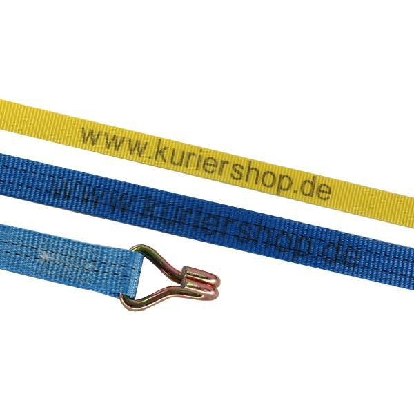 Spanngurt / Zurrgurt 50 mm, 6 m, 2-teilig, Doppelspitzhaken mit individuellen Aufdruck - 25 Stück