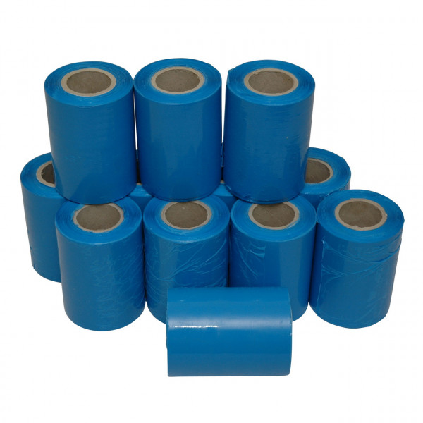 Mini-Stretchfolie, blau, 150 lfm, 23 µ, Kern 100 x 38 mm, im 12er Set